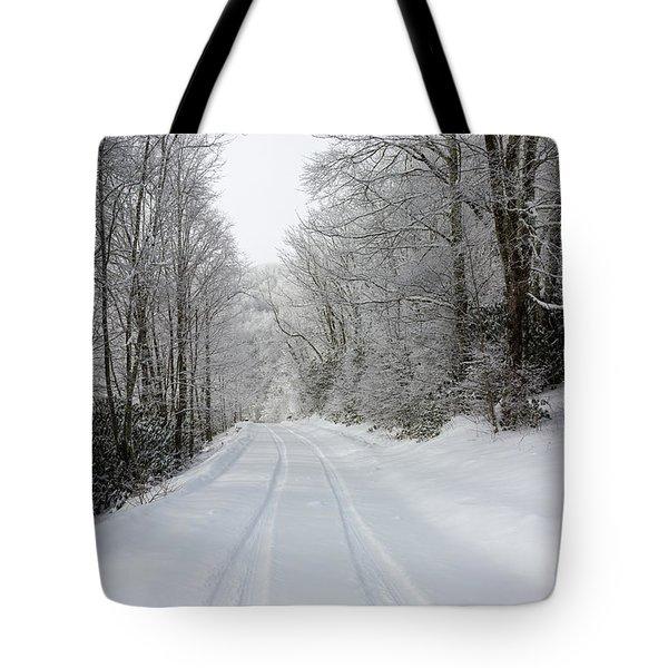 Tire Tracks In Fresh Snow Tote Bag