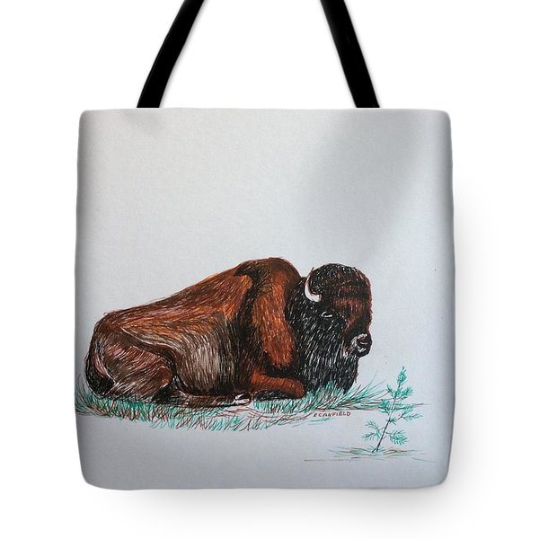 Tired Bison Tote Bag by Ellen Canfield