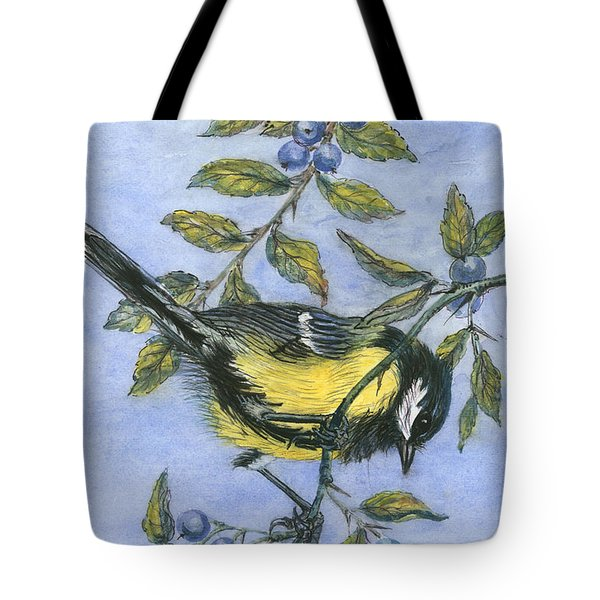 Tit In Blackthorn And Sloe Tote Bag