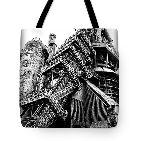 Titan Of Industry - Bethlehem Steel Mill In Black And White Tote Bag by Bill Cannon