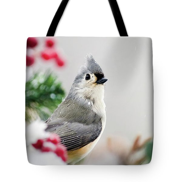 Tote Bag featuring the photograph Titmouse Bird Portrait by Christina Rollo