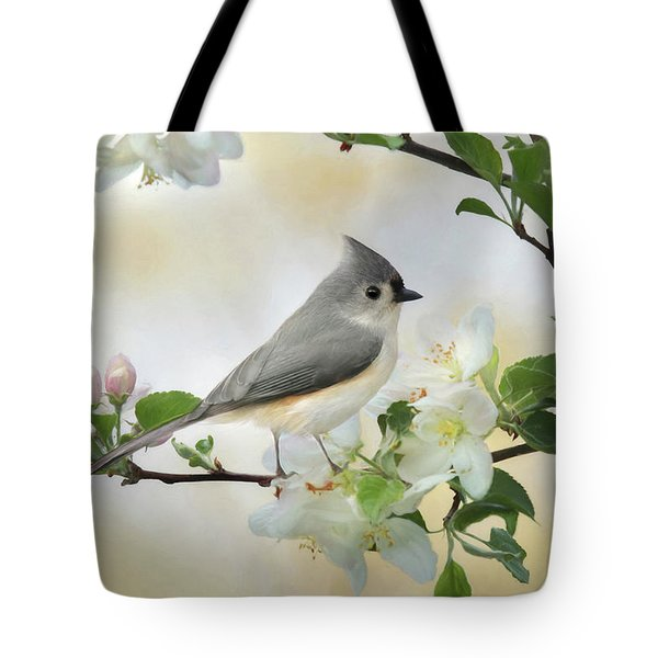 Tote Bag featuring the mixed media Titmouse In Blossoms 1 by Lori Deiter