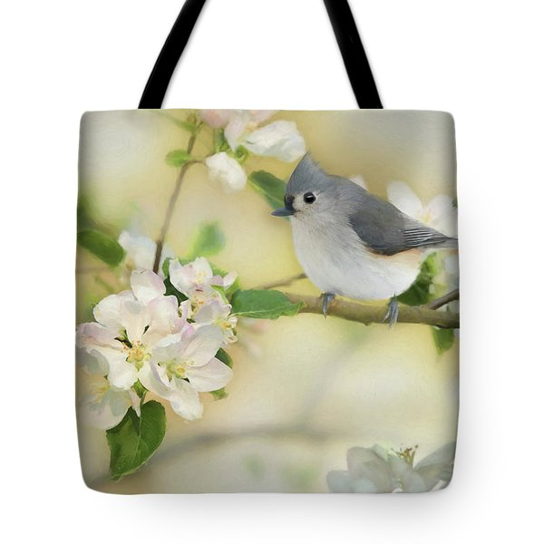 Tote Bag featuring the mixed media Titmouse In Blossoms 2 by Lori Deiter
