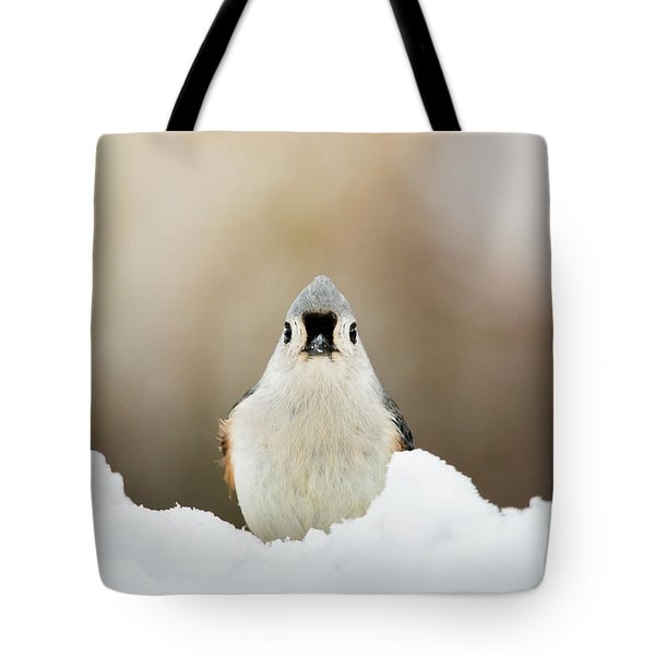 Tufted Titmouse In Snow Tote Bag