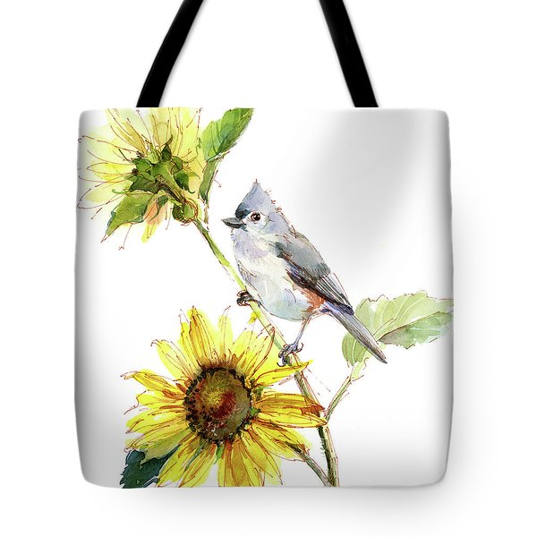 Titmouse With Sunflower Tote Bag