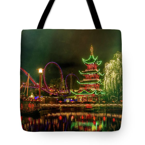 Tivoli Gardens In Copenhagen By Night  Tote Bag