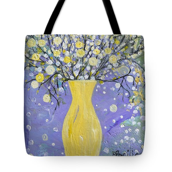 Tote Bag featuring the painting To Brighten Your Evening by Evelina Popilian
