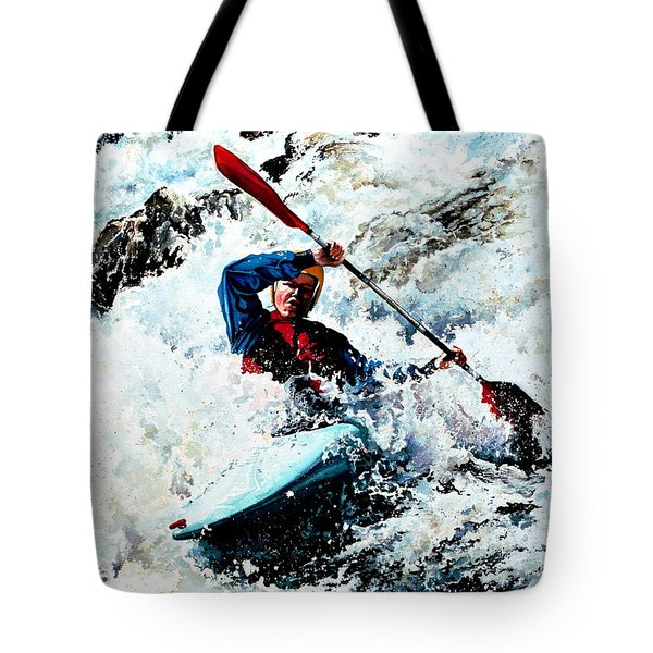To Conquer White Water Tote Bag by Hanne Lore Koehler