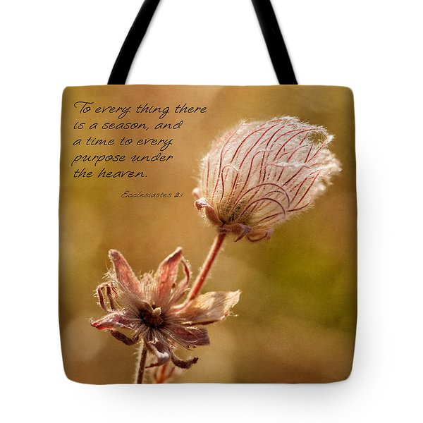 To Everything A Season Tote Bag by Mary Jo Allen