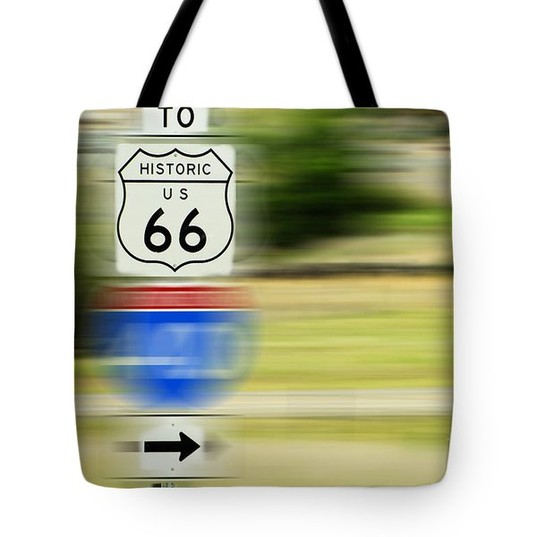 Tote Bag featuring the photograph To Historic U.s. Route 66 by MaryJane Armstrong