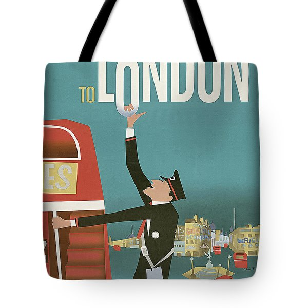 To London By Red Bus, Vintage Travel Poster Tote Bag