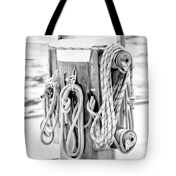 Tote Bag featuring the photograph To Sail Or Knot by Greg Fortier