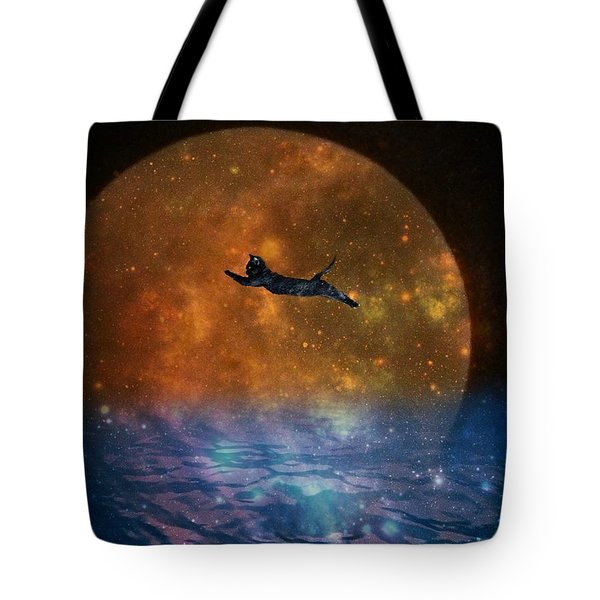 To The Moon And Back Cat Tote Bag