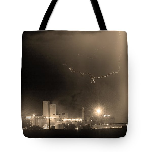 To The Right Budweiser Lightning Strike Sepia  Tote Bag by James BO  Insogna