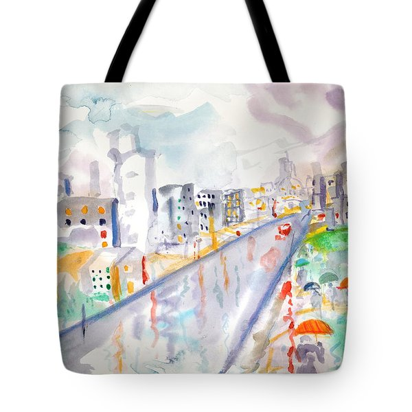 To The Wet City Tote Bag by Mary Armstrong
