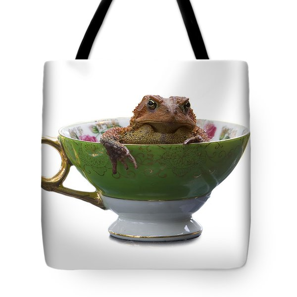 Toad In A Teacup Tote Bag by Ron Jones