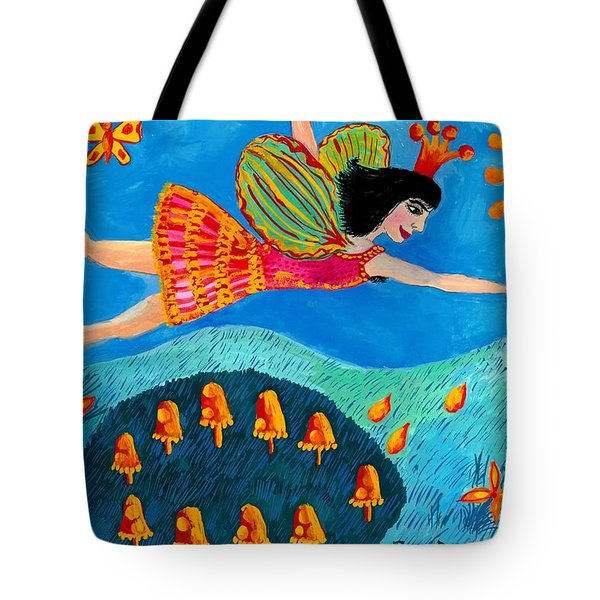 Toadstool Fairy Flies Again Tote Bag by Sushila Burgess
