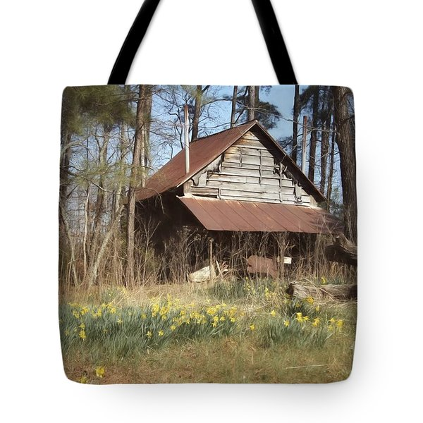 Tote Bag featuring the photograph Tobacco Barn In Spring by Benanne Stiens