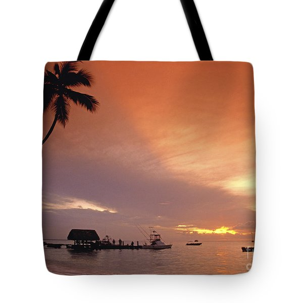 Tote Bag featuring the photograph Tobago, Pigeon Point Sunset, Caribbean Sea, by Juergen Held