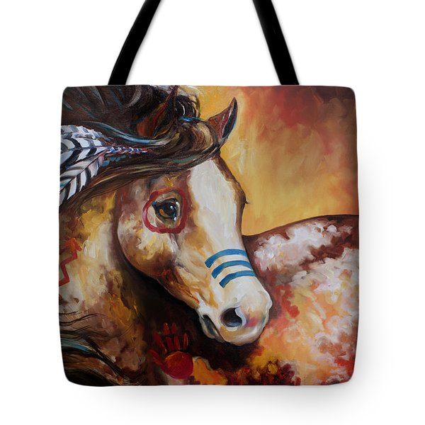 Tobiano Indian War Horse Tote Bag