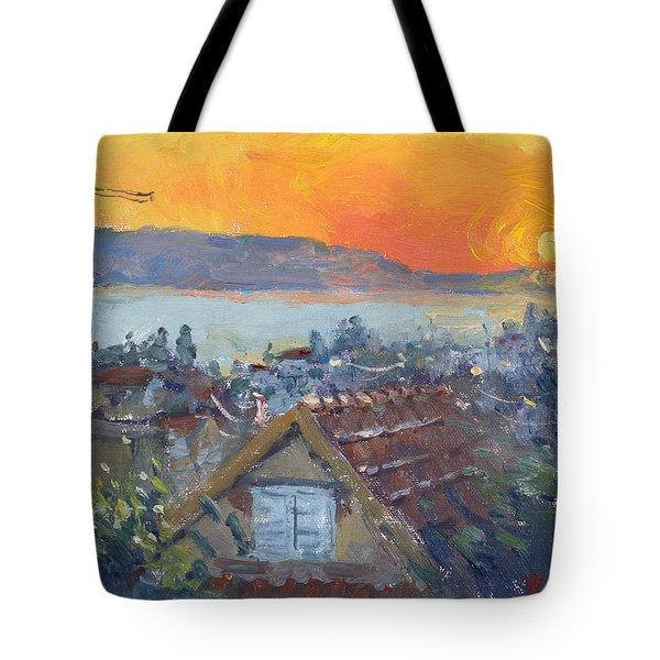 Today Sunrise Over Dilesi Greece Tote Bag