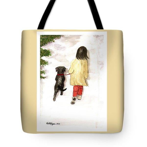 Together - Black Labrador And Woman Walking Tote Bag
