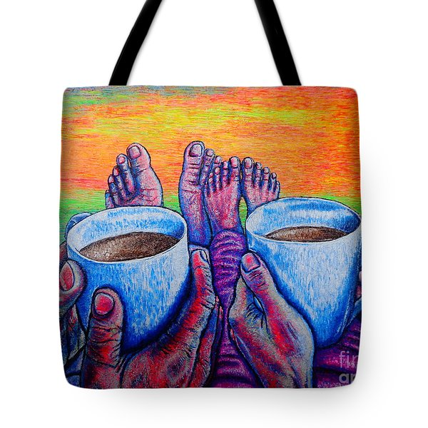Tote Bag featuring the painting Together by Viktor Lazarev