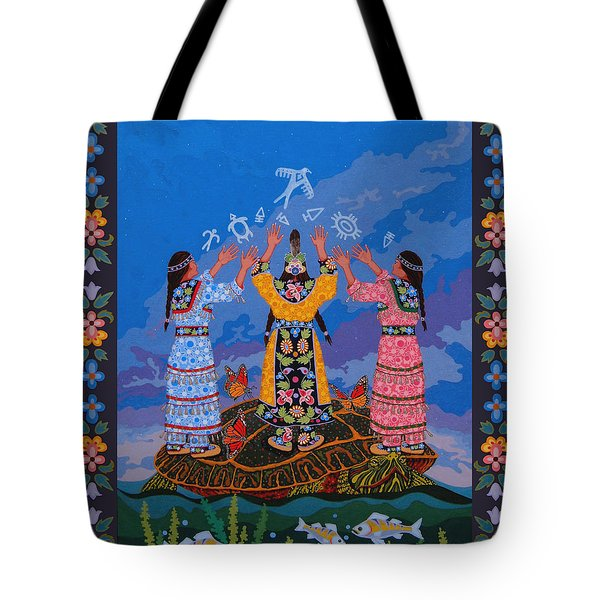 Tote Bag featuring the painting Together We Over Come Obstacles by Chholing Taha