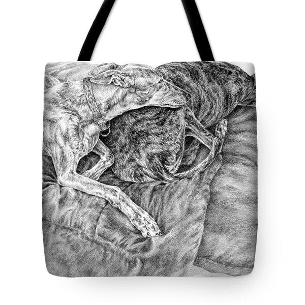 Togetherness - Greyhound Dog Art Print Tote Bag
