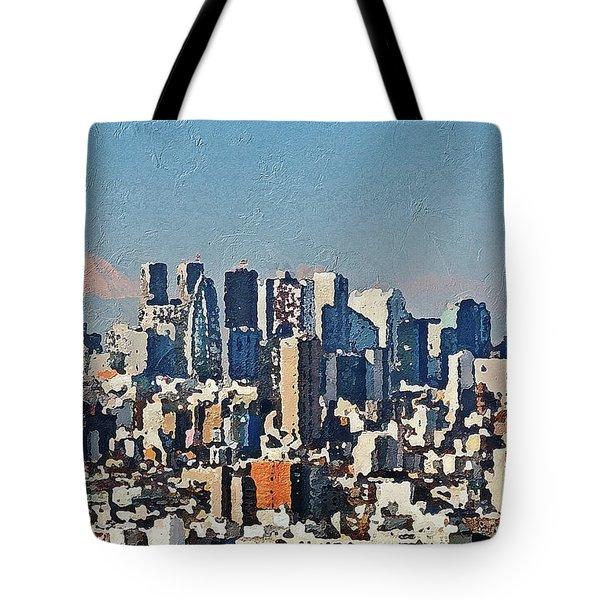 Tote Bag featuring the painting Tokyo City Aerial by PixBreak Art