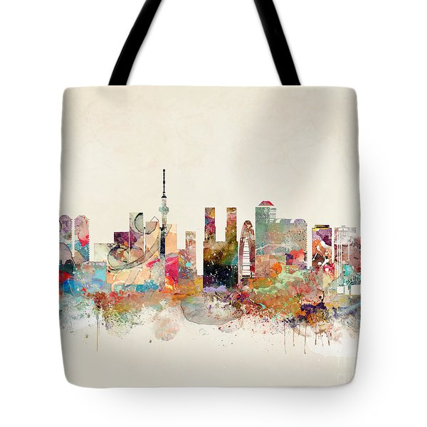 Tote Bag featuring the painting Tokyo City Skyline by Bri B