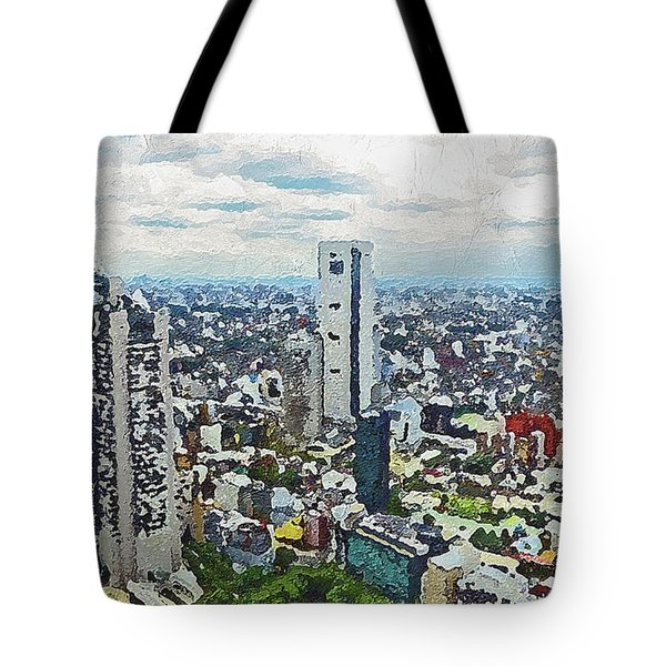 Tote Bag featuring the painting Tokyo City View by PixBreak Art
