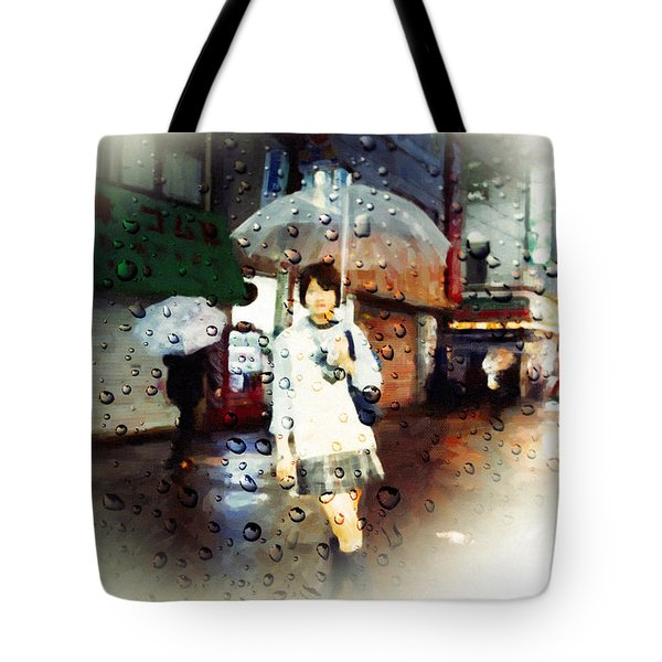 Tote Bag featuring the painting Rainytokyo Night by Chris Armytage