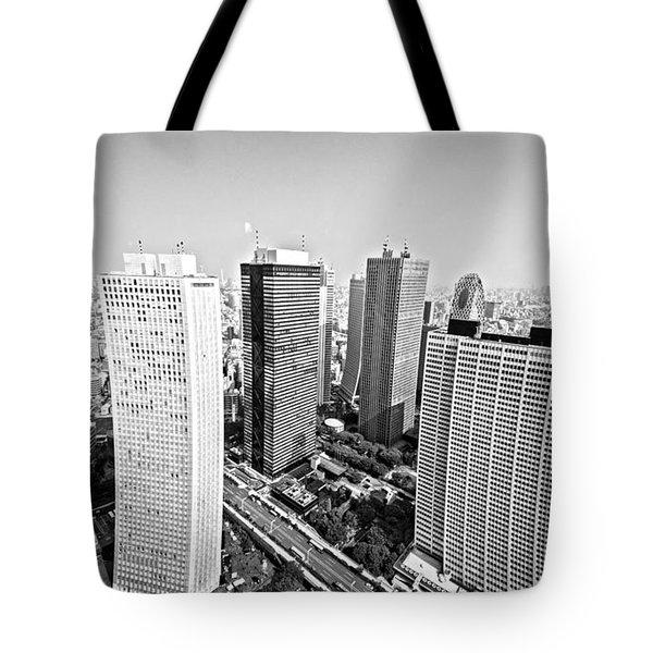 Tokyo Skyline Tote Bag by Pravine Chester