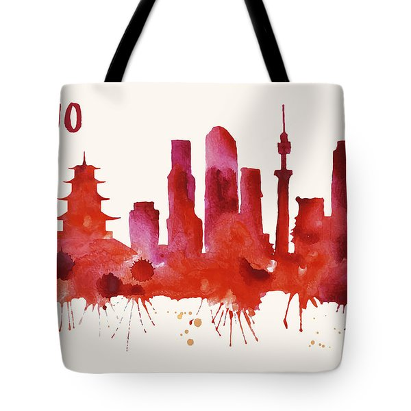 Tokyo Skyline Watercolor Poster - Cityscape Painting Artwork Tote Bag by Beautify My Walls