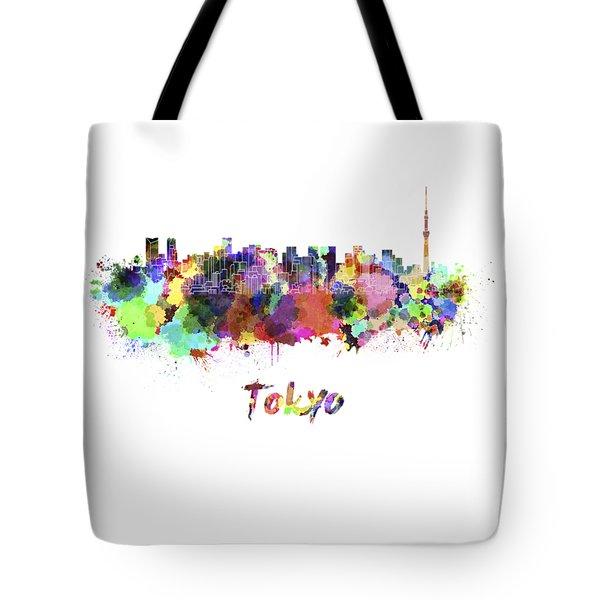 Tokyo V2 Skyline In Watercolor Tote Bag by Pablo Romero