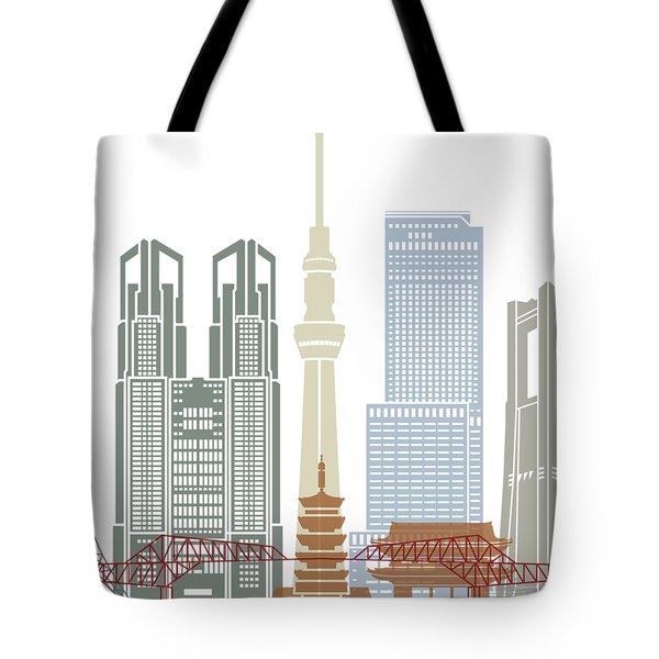 Tokyo V2 Skyline Poster Tote Bag