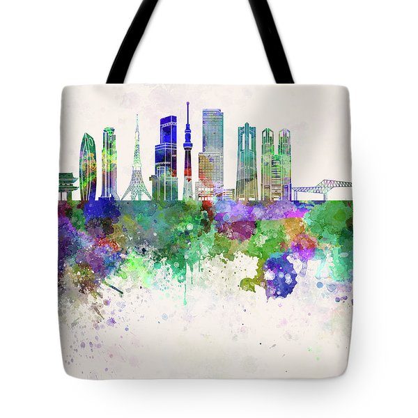 Tokyo V3 Skyline In Watercolor Background Tote Bag by Pablo Romero