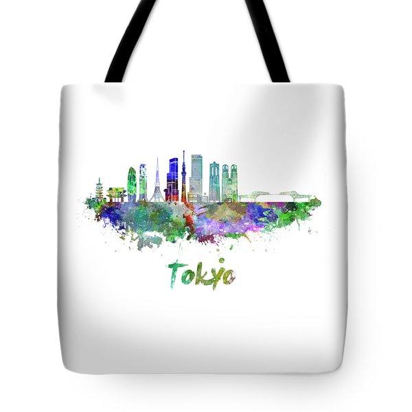 Tokyo V3 Skyline In Watercolor Tote Bag