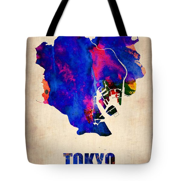 Tokyo Watercolor Map 2 Tote Bag by Naxart Studio