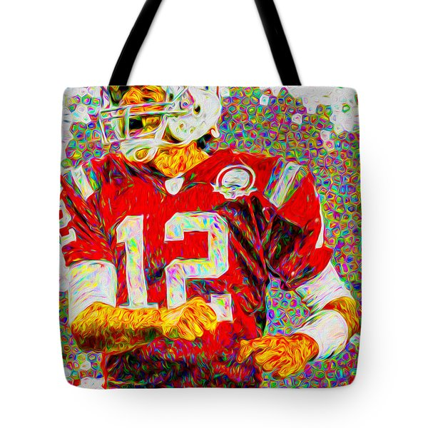 Tom Brady New England Patriots Football Nfl Painting Digitally Tote Bag by David Haskett