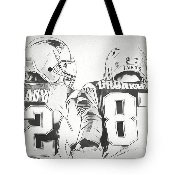 Tote Bag featuring the drawing Tom Brady Rob Gronkowski Sketch by Dan Sproul