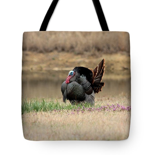 Tom Turkey At Pond Tote Bag by Sheila Brown