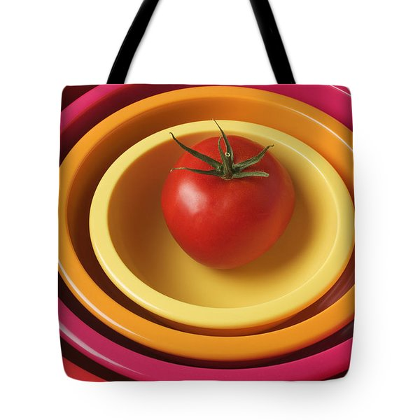 Tomato In Mixing Bowls Tote Bag by Garry Gay