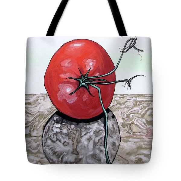 Tote Bag featuring the painting Tomato On Marble by Mary Ellen Frazee