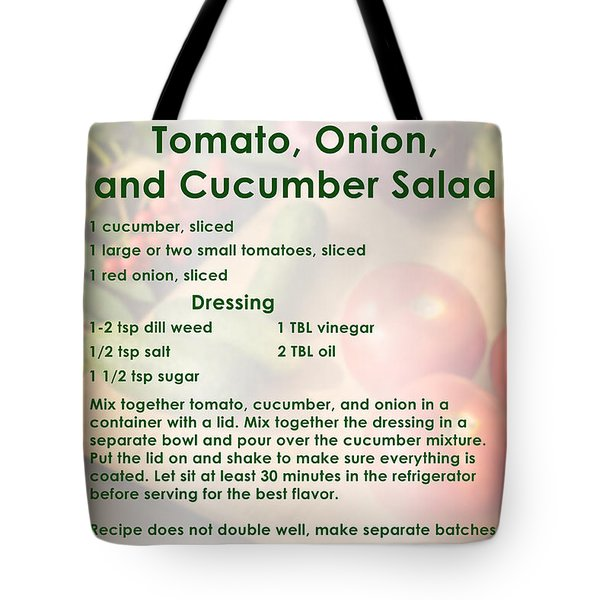 Tomato Onion Cucumber Salad Recipe Tote Bag