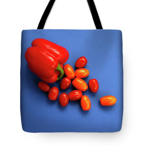 Tomatoes And Capsicum On Blue Tote Bag