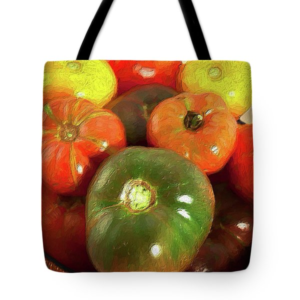 Tote Bag featuring the painting Tomatoes In A Basket Ap by Dan Carmichael