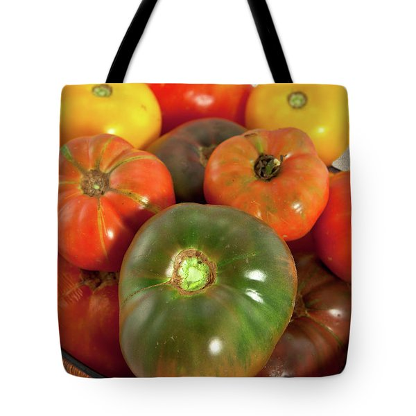 Tote Bag featuring the photograph Tomatoes In A Basket by Dan Carmichael
