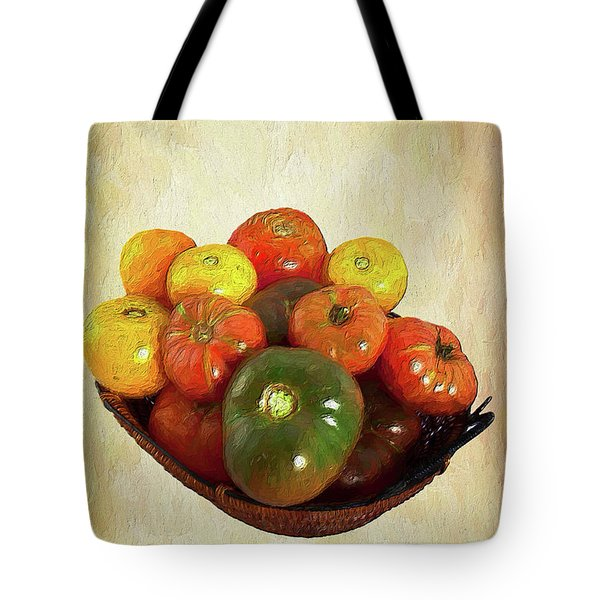 Tote Bag featuring the painting Tomatoes In A Basket Wide Ap by Dan Carmichael